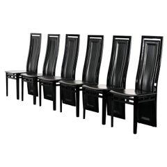 Set of Six Postmodern Italian Sibau Dining Chairs, 1980s