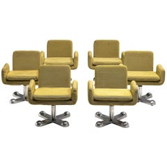 Set of Six Postmodern Swivel Armchairs by Perry King