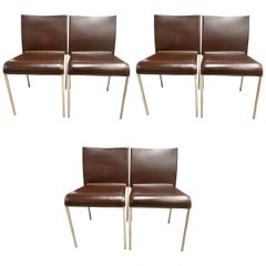 Set of Six Potocco Italy Italian Brown Leather Dining Chairs