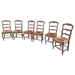 Set of Six Provencal French Dining Room Chairs in Oakwood from 1920s