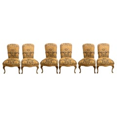 Set of Six Queen Anne High Back Dining Chairs