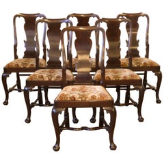 Set of Six Queen Anne Style Mahogany Chairs