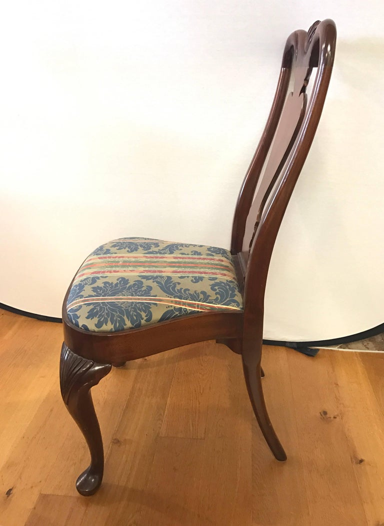 20th Century Set of Six Queen Anne Style Mahogany Dining Chairs For Sale