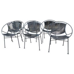 Six Mid Century Radar Outdoor Dining Lounge Chairs by John Salterini