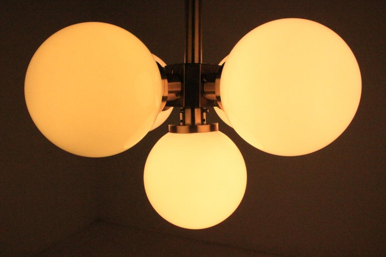 Set of Six Rare Midcentury Chandeliers Sputnik, Kamenicky Senov, 1970s For Sale 4