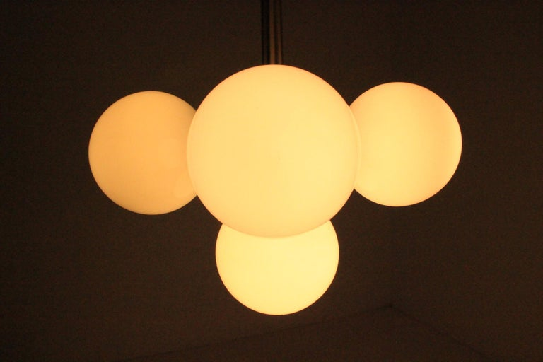 Set of Six Rare Midcentury Chandeliers Sputnik, Kamenicky Senov, 1970s For Sale 2