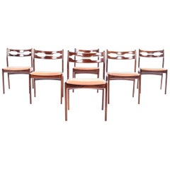 Set of Six Rare Rosewood Razorblade Dining Chairs, Denmark, 1960s