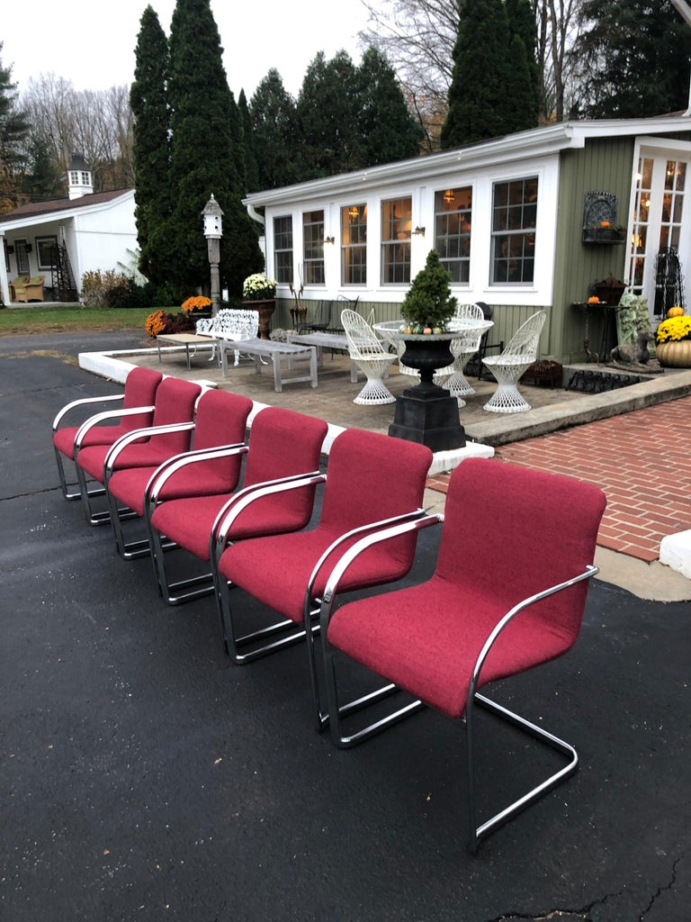Set of Six Raspberry and Chrome Dining or Office Chairs 4