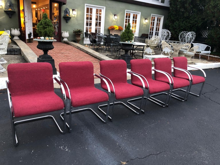 Set of Six Raspberry and Chrome Dining or Office Chairs 5