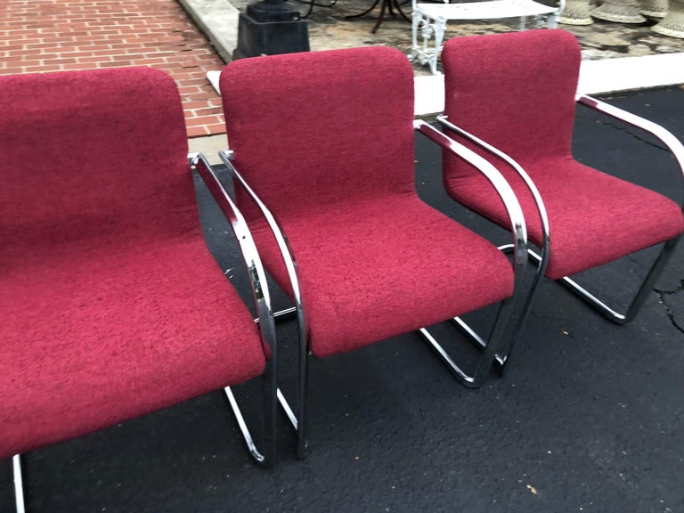 Set of Six Raspberry and Chrome Dining or Office Chairs 8