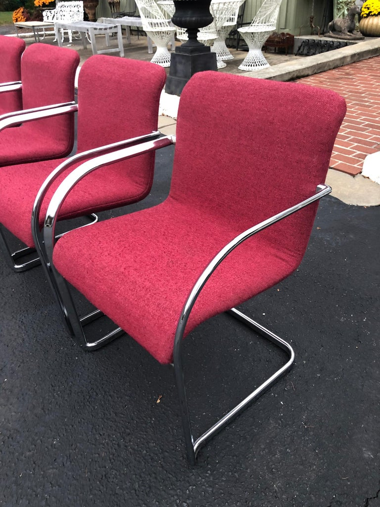 Set of Six Raspberry and Chrome Dining or Office Chairs 10