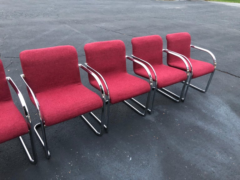 Late 20th Century Set of Six Raspberry and Chrome Dining or Office Chairs