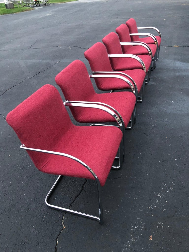 Upholstery Set of Six Raspberry and Chrome Dining or Office Chairs