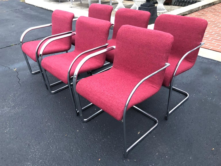 Set of Six Raspberry and Chrome Dining or Office Chairs 2