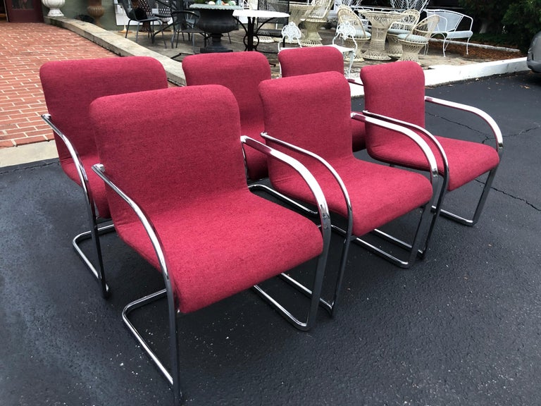 Set of Six Raspberry and Chrome Dining or Office Chairs 3