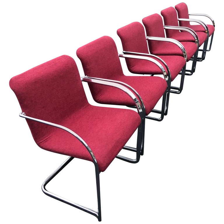 Set of Six Raspberry and Chrome Dining or Office Chairs