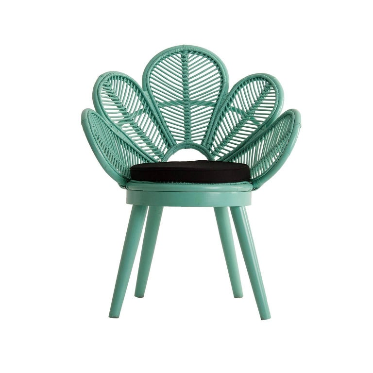 Set of six rattan and wooden armchairs: flower petal shaped seats, on wooden feets, all in azure lacquer. They will be perfect on your terrace, in your veranda, around the swimming pool or the dining table. Poetic, elegant, aerial and colourful.