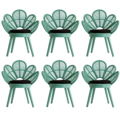 Set of Six Rattan and Wooden Azure Lacquered Armchairs
