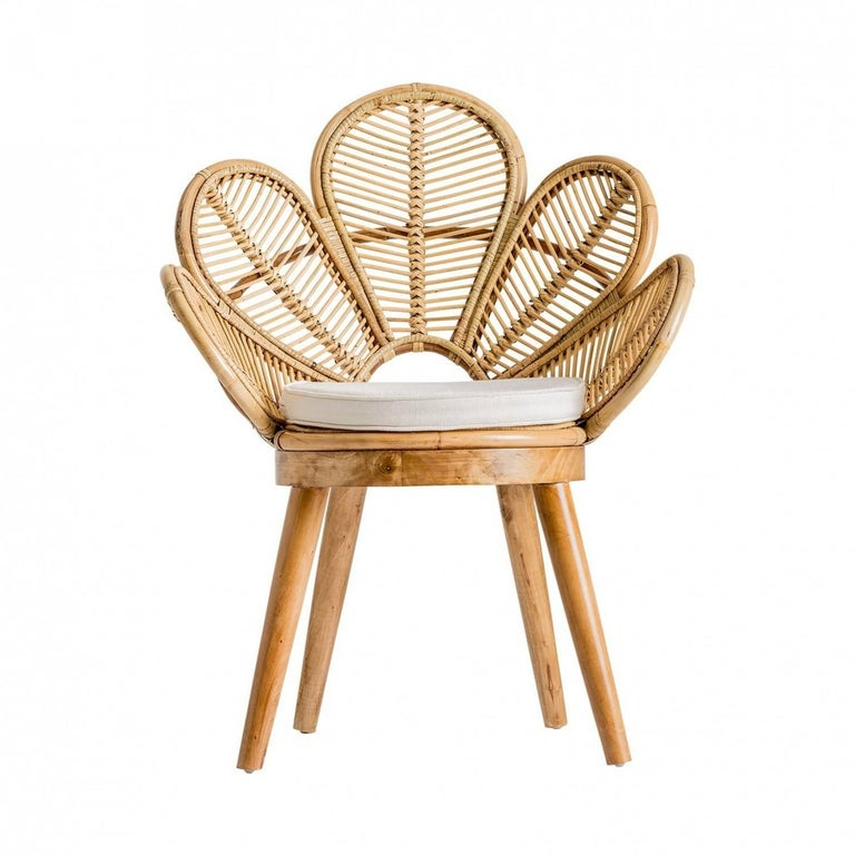 Mid-Century Modern Set of Six Rattan and Wooden Flower Chairs For Sale