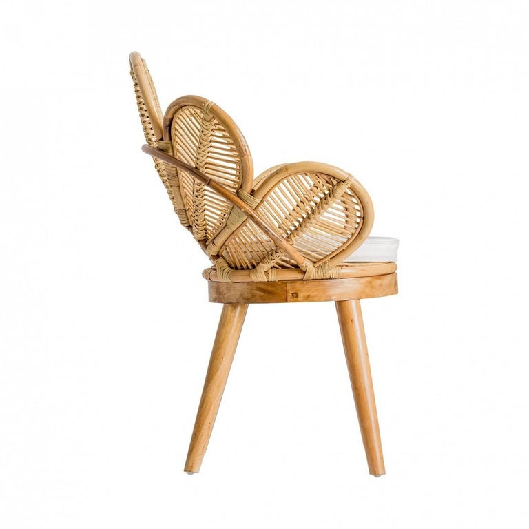 European Set of Six Rattan and Wooden Flower Chairs For Sale