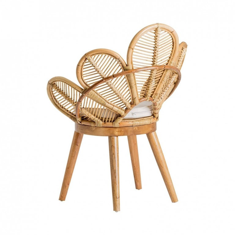 Set of Six Rattan and Wooden Flower Chairs In New Condition For Sale In Halluin, FR