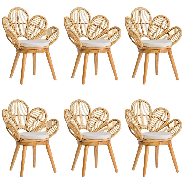 Set of Six Rattan and Wooden Flower Chairs For Sale