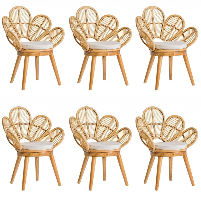 Set of Six Rattan and Wooden Flower Chairs