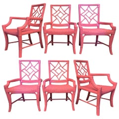 Set of Six Rattan Chinoiserie Faux Bamboo Dining Chairs