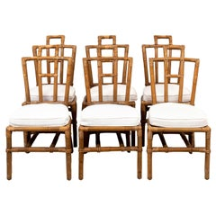 Set of Six Rattan Dining Chairs with White Linen Cushions
