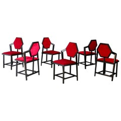 Set of Six Red Chairs Designed by Frank Lloyd Wright from the 1980s