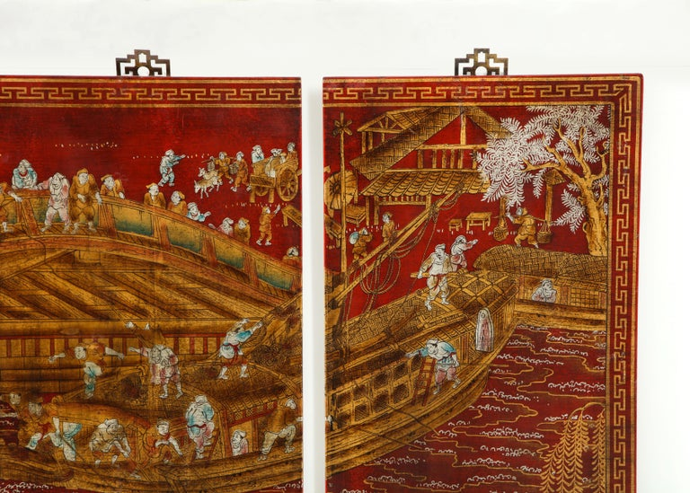 Set of Six Red Lacquered Chinoiserie Panels For Sale 6