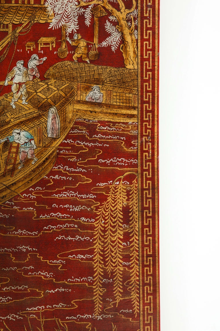 Set of Six Red Lacquered Chinoiserie Panels For Sale 7