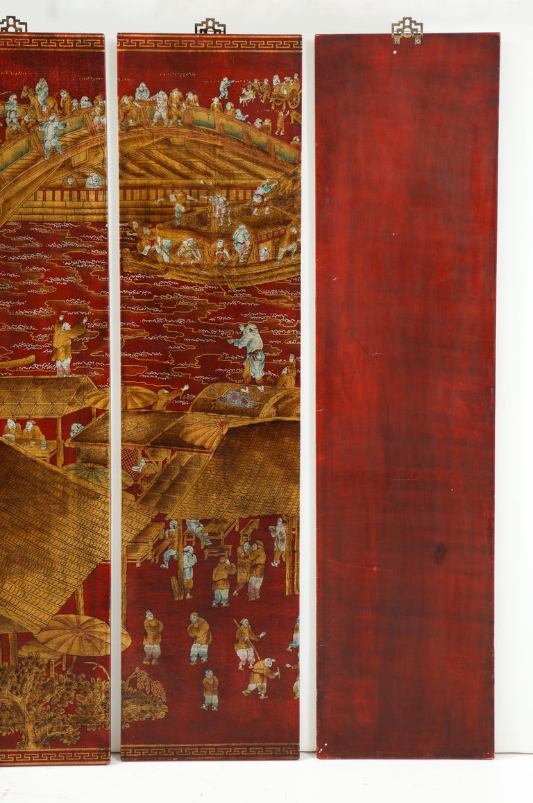 Set of Six Red Lacquered Chinoiserie Panels For Sale 8