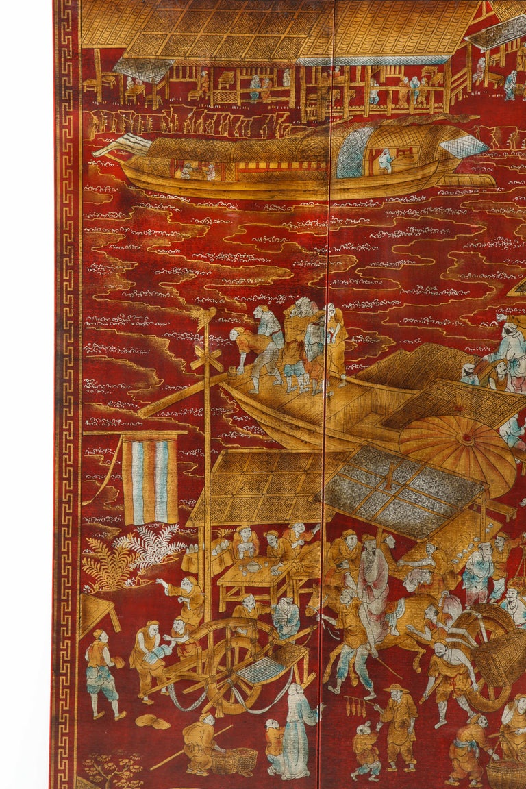 Unknown Set of Six Red Lacquered Chinoiserie Panels For Sale