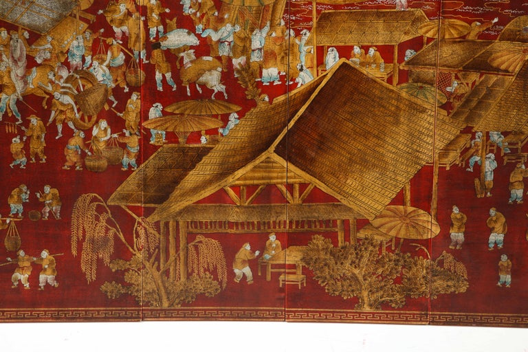 Set of Six Red Lacquered Chinoiserie Panels In Excellent Condition For Sale In New York, NY