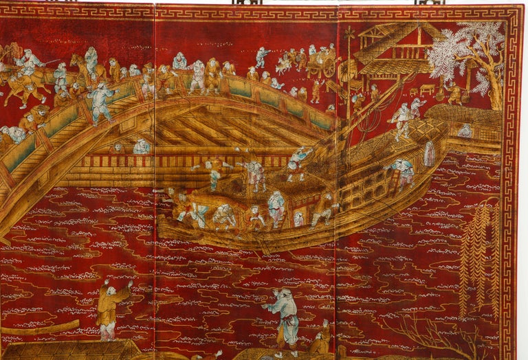 20th Century Set of Six Red Lacquered Chinoiserie Panels For Sale