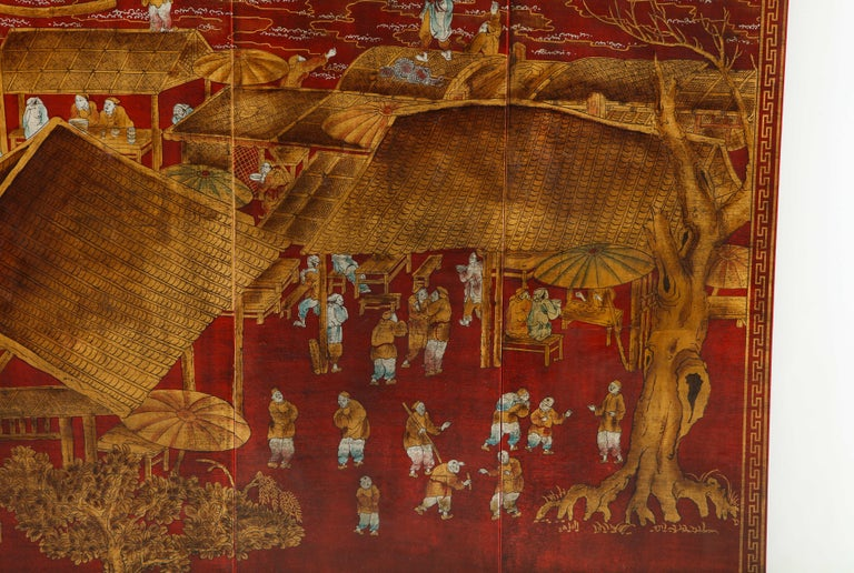 Set of Six Red Lacquered Chinoiserie Panels For Sale 1