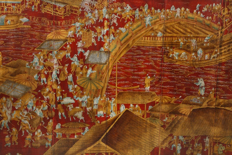 Set of Six Red Lacquered Chinoiserie Panels For Sale 2