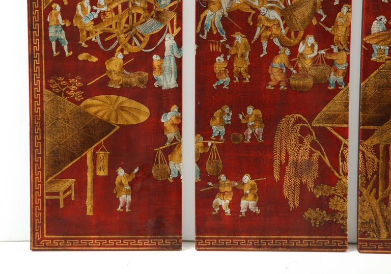 Set of Six Red Lacquered Chinoiserie Panels For Sale 3