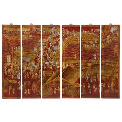 Set of Six Red Lacquered Chinoiserie Panels