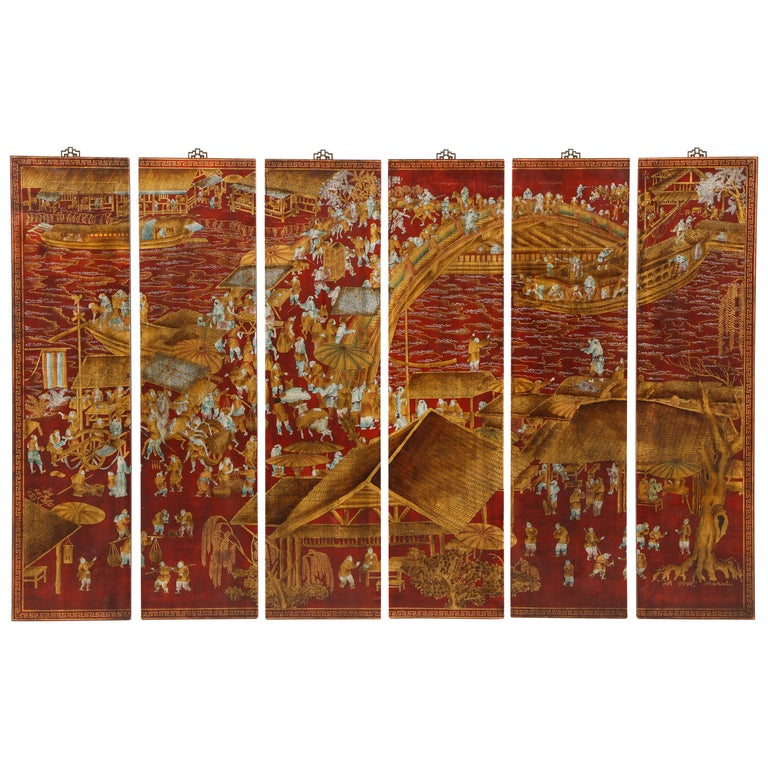 Set of Six Red Lacquered Chinoiserie Panels For Sale