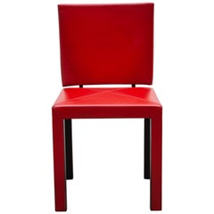 "Set of Six Red Leather ""Arcadia"" Chairs by Paolo Piva for B&B, Italia"