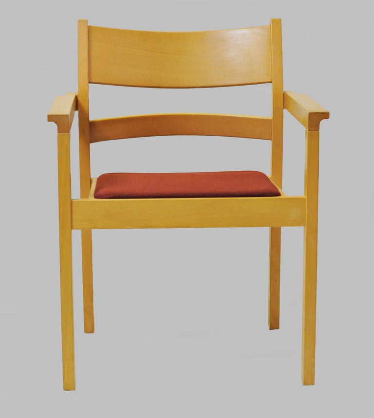 Set of six refinished Hans J. Wegner armchairs in beech.  The armchairs named