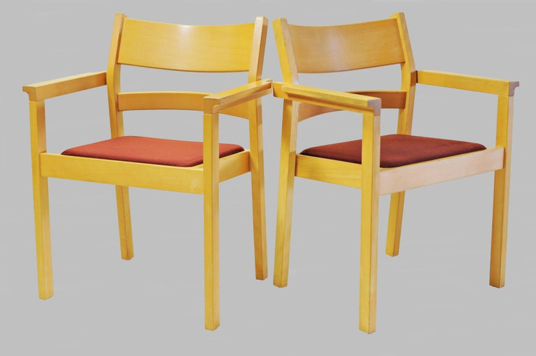 Set of Six Refinished Hans J. Wegner Armchairs in Beech, Choice of Upholstery For Sale 1