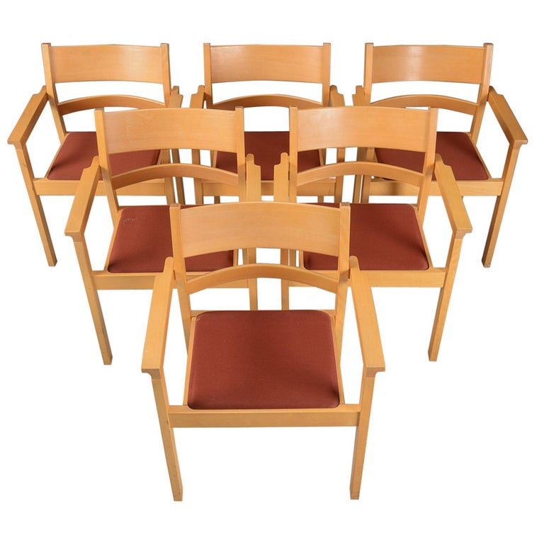 Set of Six Refinished Hans J. Wegner Armchairs in Beech, Choice of Upholstery For Sale