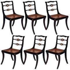 Set of Six Regency Black Painted Klismos Dining Chairs