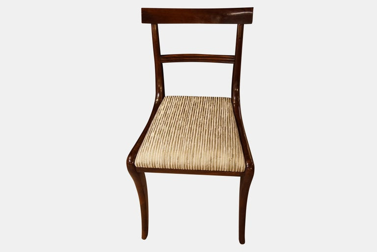 European Set of Six Regency Mahogany Dining Chairs on Sabre Legs For Sale