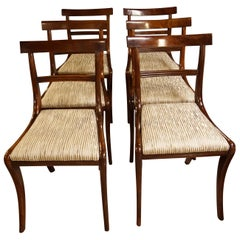 Set of Six Regency Mahogany Dining Chairs on Sabre Legs