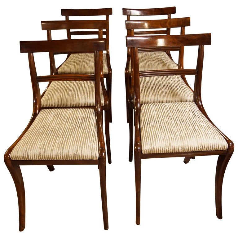 Set of Six Regency Mahogany Dining Chairs on Sabre Legs For Sale