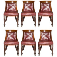 Set of Six Regency Dining Chairs in Old Burgundy Leather